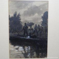 Arte: EXCELENTE DIBUJO-ACUARELA ANONIMO.BUEN TRAZO.EL BAUTIZO.RICARDO DE BRUGADA?BIEN ENMARCADO.. Lote 189971458