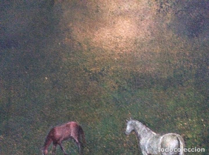 Arte: Acrílico antiguo caballos 48cmx34cm. - Foto 4 - 190016610