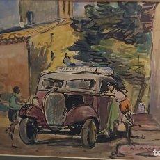 Arte: CUADRO DE RAMON CORTES CASANOVAS/ AUTOBUS DE LINEA TARRASA TERRASSA-IGLESIA SANT MARTI DE MURA 1958. Lote 190060771