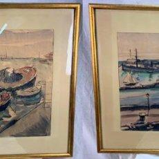 Arte: 2 ELEGANTES ACUARELAS- PAISAJES MARINOS- EMILI BOSCH I ROGER- (1894 -1980) 1931-37. Lote 190423320