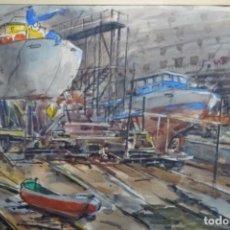 Arte: ACUARELA CON FIRMA ILEGIBLE DE 1974.ASTILLERO DE BARCOS.BUEN TRAZO.. Lote 190778882