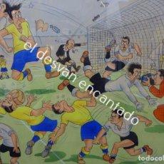 Arte: A. TARRAGÓ. ESPECTACULAR ACUARELA INSPIRADA EN OPISSO. TEMA FÚTBOL. 105 X 76 CTMS.. Lote 191203461
