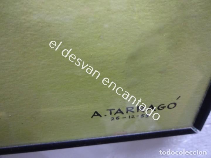 Arte: A. TARRAGÓ. Espectacular acuarela inspirada en Opisso. Tema fútbol. 105 x 76 ctms. - Foto 3 - 191203461
