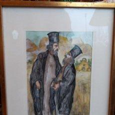 Arte: RAMON JOU SENABRE (BARCELONA 1873-1978) PAREJA DE RELIGIOSOS ACUARELA. Lote 191246968