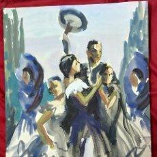 Arte: ACUARELA DE MARIA ROSA GARCIA CASAS. BAILAORES FLAMENCO. Lote 191511951