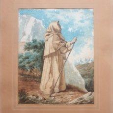 Arte: ESCUELA CATALANA (XIX) - FRAILE PEREGRINO.FIRMADA.. Lote 191589405