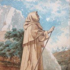Arte: FRAILE EN LOS MONTES - FIRMADO J.VENTURA.ACUARELA/PAPEL.. Lote 191589405