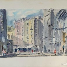 Arte: CALLE DE BARCELONA. ACUARELA SOBRE PAPEL. CARLES ARQUÉS TOST. SIGLO XX. . Lote 191685540