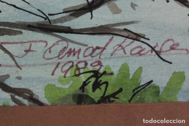 Arte: C-975. ACUARELA SOBRE PAPEL, PAISAJE. FIRMADO F. AMAT K. 1989. - Foto 6 - 191761356