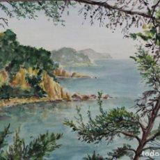 Arte: C-975. ACUARELA SOBRE PAPEL, PAISAJE. FIRMADO F. AMAT K. 1989.. Lote 191761356