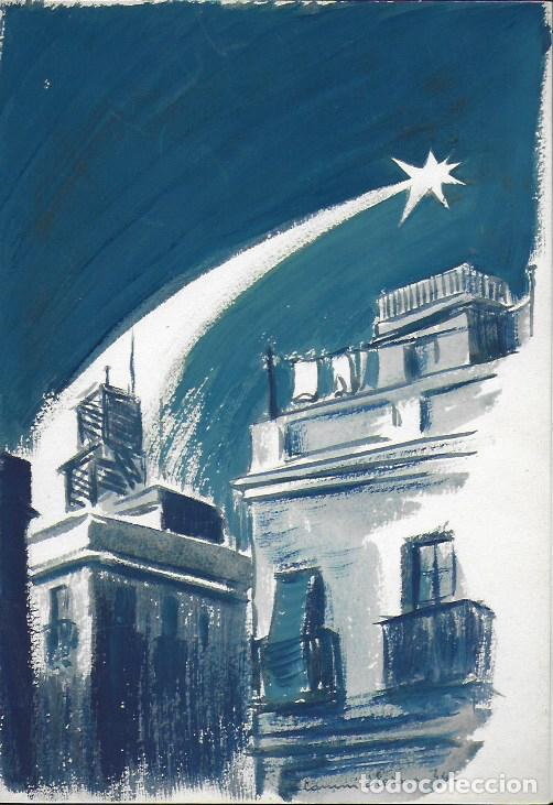 NADAL 1944. EXEMPLAR ÚNIC DESTINAT AL POETA TOMÀS GARCÉS. AUTOR: J. COMMELERAN (1902-1992). 26X16CM (Arte - Acuarelas - Contemporáneas siglo XX)