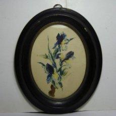 Arte: ACUARELA DE FLORES. MARCO DE MADERA OVALADO. S.XIX.. Lote 191786335