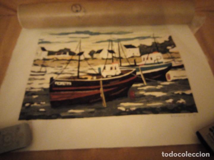 ACUARELA BARCOS PESQUEROS,127/130, TELLAPON J. 82 (Arte - Acuarelas - Contemporáneas siglo XX)