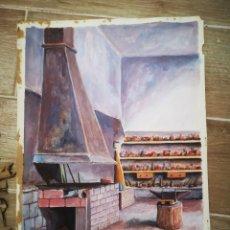 Arte: F. LLOMBART, EXQUISITA ACUARELA, VISTA INTERIOR, FIRMADA 31X42CM. Lote 192069047