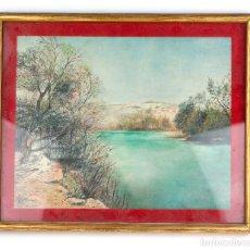 Arte: PERSONAJE AL LADO DE UN RÍO, ACUARELA, FIRMADA DOMÈNECH, CON MARCO. 31X25CM. Lote 192339762