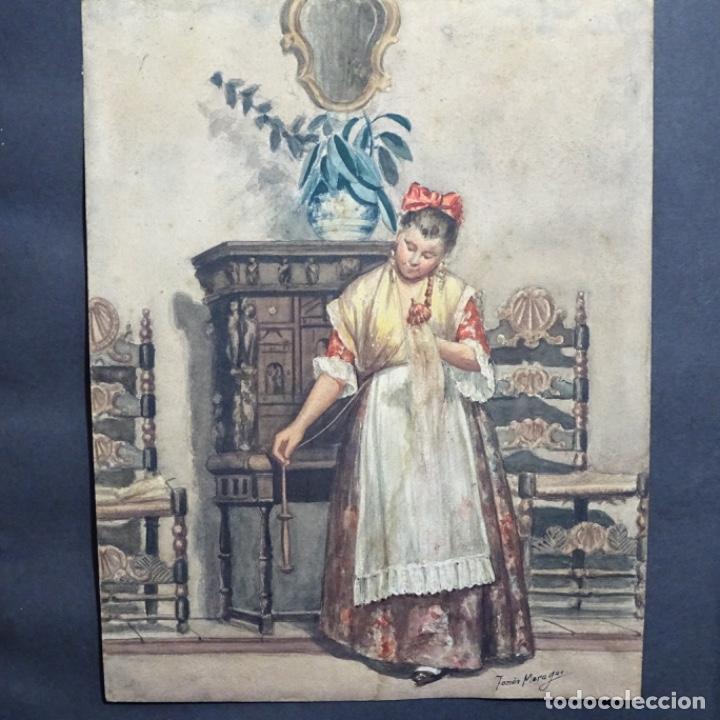EXCELENTE ACUARELA DE TOMÀS MORAGAS I TORRAS(GIRONA 1837-BCN 1906). (Arte - Acuarelas - Modernas siglo XIX)