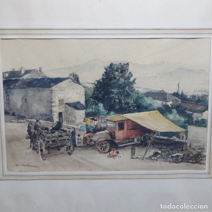 EXCELENTE ACUARELA DE JOAN COLOM I AGUSTI (ARENYS DE MAR 1879-BCN 1969).SALA GASPAR. (Arte - Acuarelas - Contemporáneas siglo XX)
