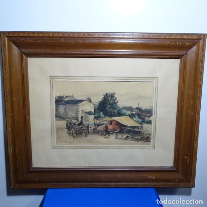 Arte: Excelente Acuarela de Joan Colom i agusti (Arenys de mar 1879-bcn 1969).Sala Gaspar. - Foto 2 - 192757303
