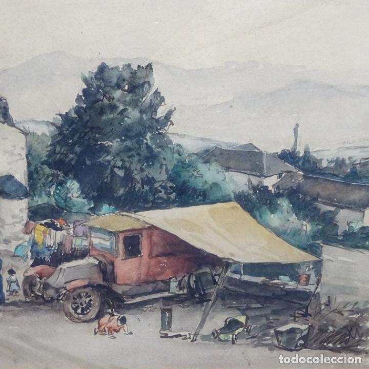 Arte: Excelente Acuarela de Joan Colom i agusti (Arenys de mar 1879-bcn 1969).Sala Gaspar. - Foto 4 - 192757303