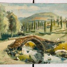 Arte: FELIP BRUGUERAS PALLACH - PAISAJE CON PUENTE. Lote 192929015