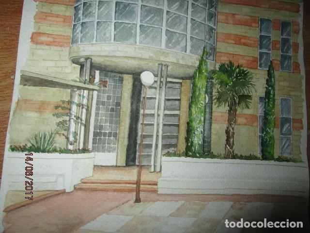 Arte: ANTIGUA ACUARELA ORIGINAL EDIFICIO DE ALICANTE - Foto 4 - 193042680