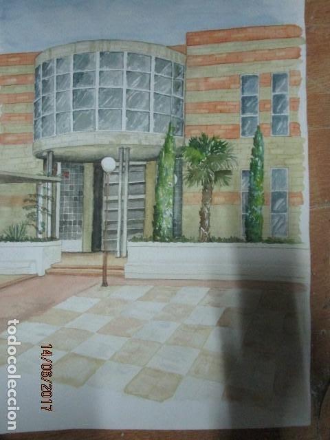 Arte: ANTIGUA ACUARELA ORIGINAL EDIFICIO DE ALICANTE - Foto 5 - 193042680