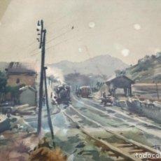 Arte: ACUARELA ESTACION APEADERO TREN FIRMA FRESQUET 50. Lote 193205533