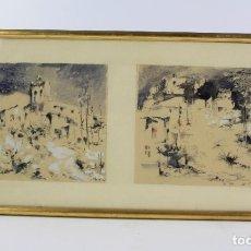 Arte: JOAN SIBECAS, ACUARELAS, 1967, PAISAJES Y CASAS, CON MARCO. 40X21CM. Lote 193564678