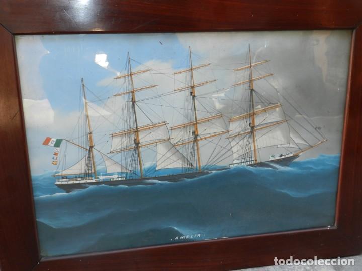 M) CUADRO CUARELA BARCO NAVIERA AMELIA , SIGLO XIX , SIN FIRMAR , 74X55 CM (Arte - Acuarelas - Modernas siglo XIX)
