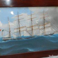 Arte: M) CUADRO CUARELA BARCO NAVIERA AMELIA , SIGLO XIX , SIN FIRMAR , 74X55 CM. Lote 193612957