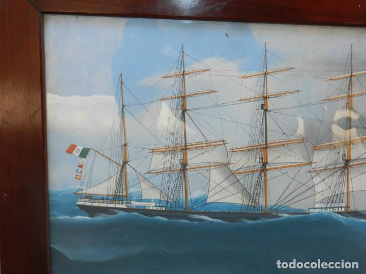 Arte: M) CUADRO CUARELA BARCO NAVIERA AMELIA , SIGLO XIX , SIN FIRMAR , 74X55 CM - Foto 4 - 193612957