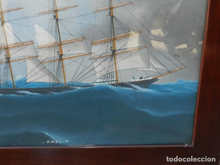 Arte: M) CUADRO CUARELA BARCO NAVIERA AMELIA , SIGLO XIX , SIN FIRMAR , 74X55 CM - Foto 6 - 193612957