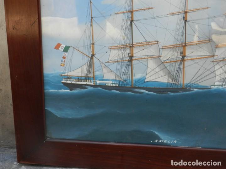 Arte: M) CUADRO CUARELA BARCO NAVIERA AMELIA , SIGLO XIX , SIN FIRMAR , 74X55 CM - Foto 8 - 193612957
