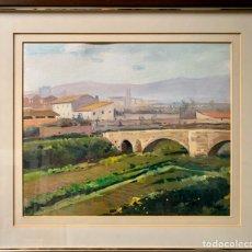 Arte: LLUIS VILA I PLANA (1921/1992),PAISAJE DE MONTBLANC 1982 DE 46X38 CM MAS MARCO. Lote 193649565