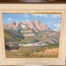 Arte: LLUIS VILA I PLANA (1921/1992),PAISAJE DE MONISTROL CON MONTSERRAT AL FONDO DE 46X38 CM MAS MARCO. Lote 193650072