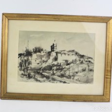 Arte: JOAN SIBECAS, PAISAJE CON CASAS, 1966, ACUARELA, CON MARCO. 21,5X14,5CM. Lote 193677517