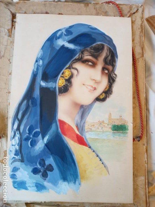 RAMON MIR ESCUDE (1887-1973) BUSTO FEMENINO ACUARELA (Arte - Acuarelas - Modernas siglo XIX)