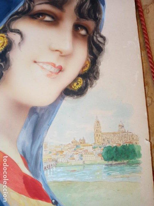 Arte: Ramon Mir Escude (1887-1973) Busto femenino acuarela - Foto 3 - 193739445