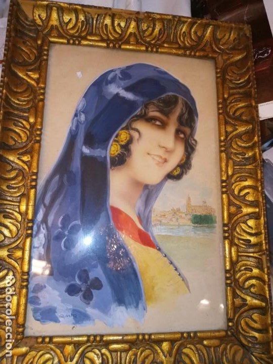 Arte: Ramon Mir Escude (1887-1973) Busto femenino acuarela - Foto 4 - 193739445