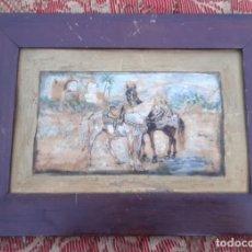Arte: ACUARELA ANTIGUA SOBRE CARTON PAISAJE ANDALUZ CON 2 CABALLOS DE 26 X 19 Y LA ACUARELA 15 X 10. Lote 193845805