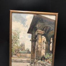 Arte: ANTIGUA ACUARELA FIRMADA. Lote 193971948