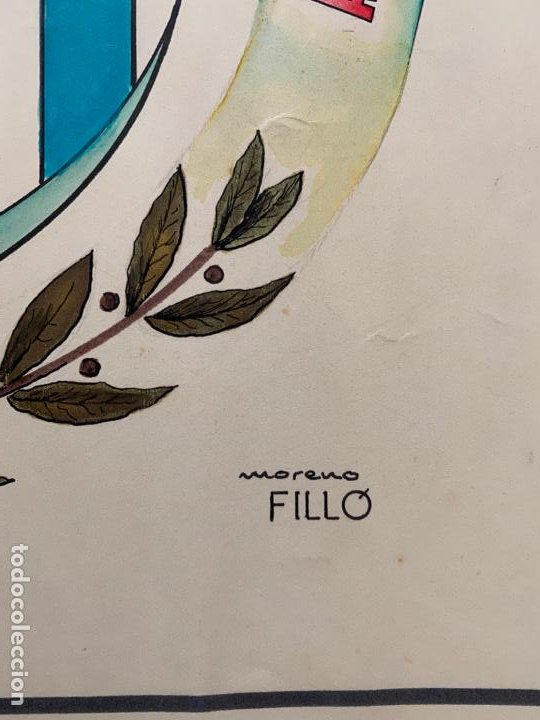 Arte: MORENO FILLÓ , ACUARELA ORIGINAL , MÁLAGA , ESCUDO DE FUTBOL ATLETICO ANDALUCIA - Foto 2 - 194011620