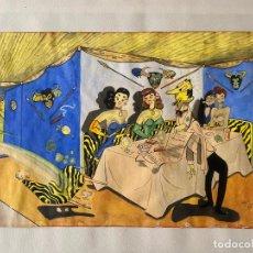 Arte: GOUACHE ORIGINAL FIRMADO CINTORA Y FECHADO EN MÁLAGA EN 1959 . Lote 194059117