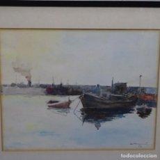 Arte: GRAN ACUARELA DE RAMON CAMI.PINTOR DE TERRASSA.PUERTO.1963.. Lote 194162673
