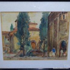 Arte: GRAN ACUARELA DE RAMON CAMI.PINTOR DE TERRASSA.IGLESIA SANT PERE.. Lote 194162771