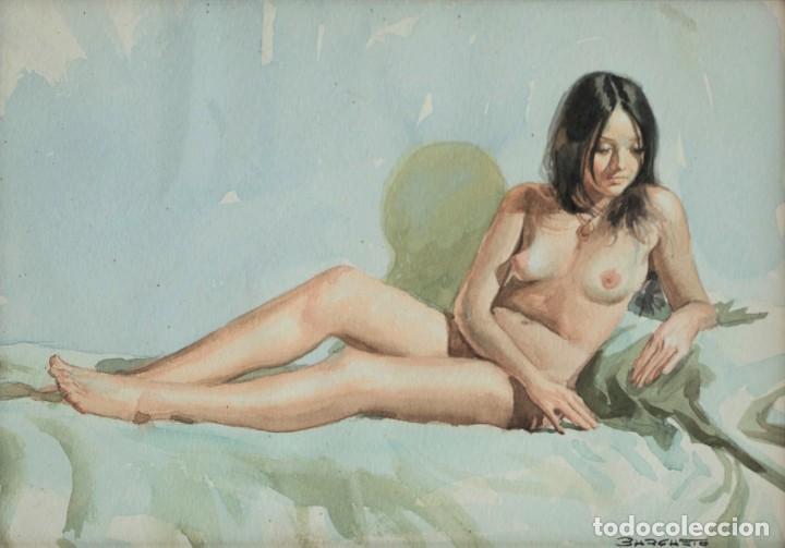 DESNUDO CHICA, BURGUETE (Arte - Acuarelas - Contemporáneas siglo XX)
