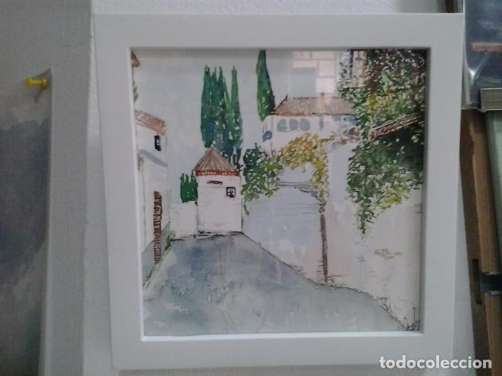 LMV - ACUARELA, CALLE, 16 X 16 CM (Arte - Acuarelas - Contemporáneas siglo XX)
