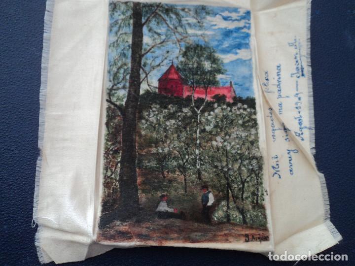 PINTURA SOBRE PAÑUELO DE SEDA FIRMADO J. ARQUER FECHA ILEGIBLE PARECE 1909 15 X 9,5 CM (Arte - Acuarelas - Contemporáneas siglo XX)