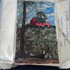 Arte: PINTURA SOBRE PAÑUELO DE SEDA FIRMADO J. ARQUER FECHA ILEGIBLE PARECE 1909 15 X 9,5 CM. Lote 194207547