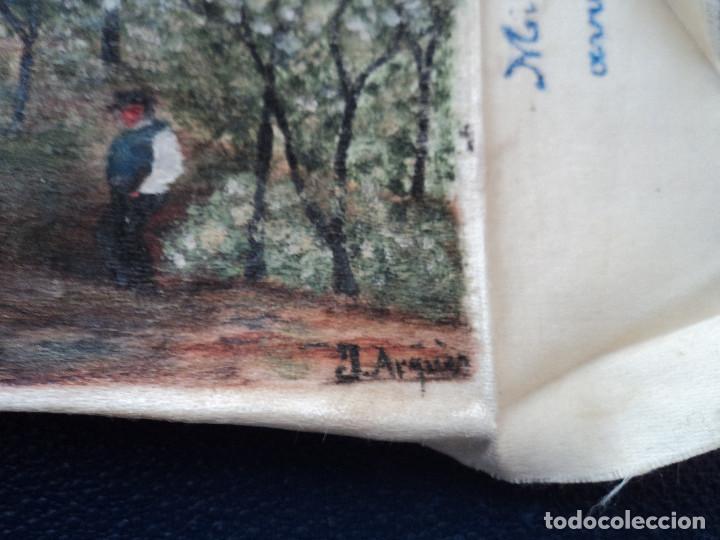 Arte: pintura sobre pañuelo de seda firmado j. arquer fecha ilegible parece 1909 15 x 9,5 cm - Foto 2 - 194207547